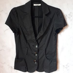 Ricki's Fitted Polka Dot Buttoned Blazer Pockets 4